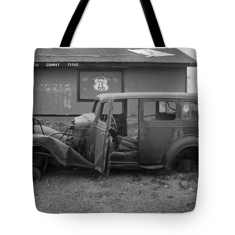 Black & White Tote Bag featuring the photograph Route 66 Travels by Crystal Nederman