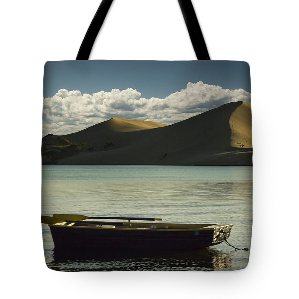 Art Tote Bag featuring the photograph Row Boat On Silver Lake With Dunes by Randall Nyhof