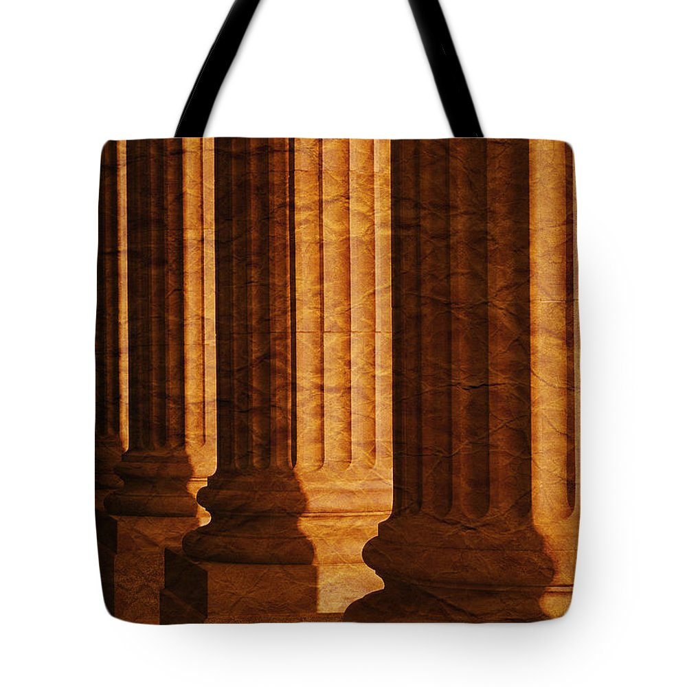 Architectural Tote Bag featuring the photograph Row Of Large Columns by Don Hammond
