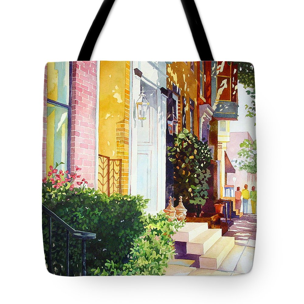 Landscape Tote Bag featuring the painting Rowhouses by Mick Williams