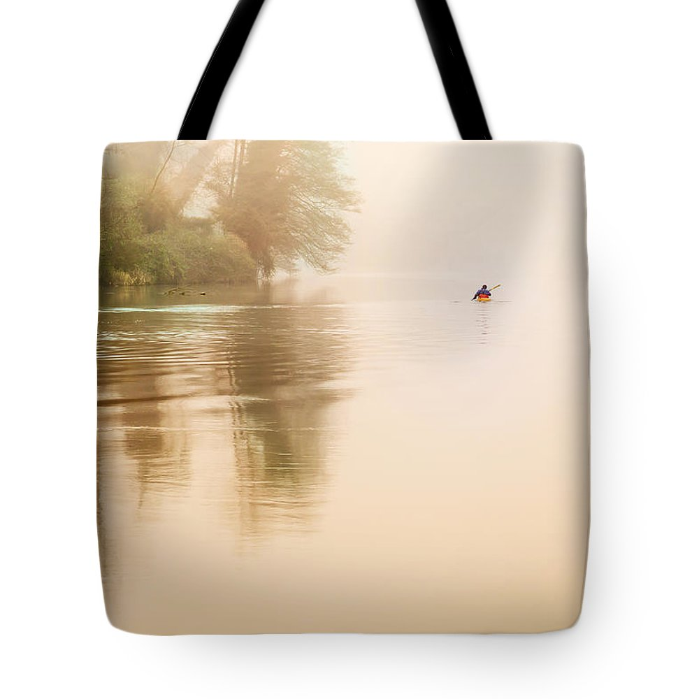 Rowing Tote Bag featuring the photograph Rowing In The Mist by Alfio Finocchiaro
