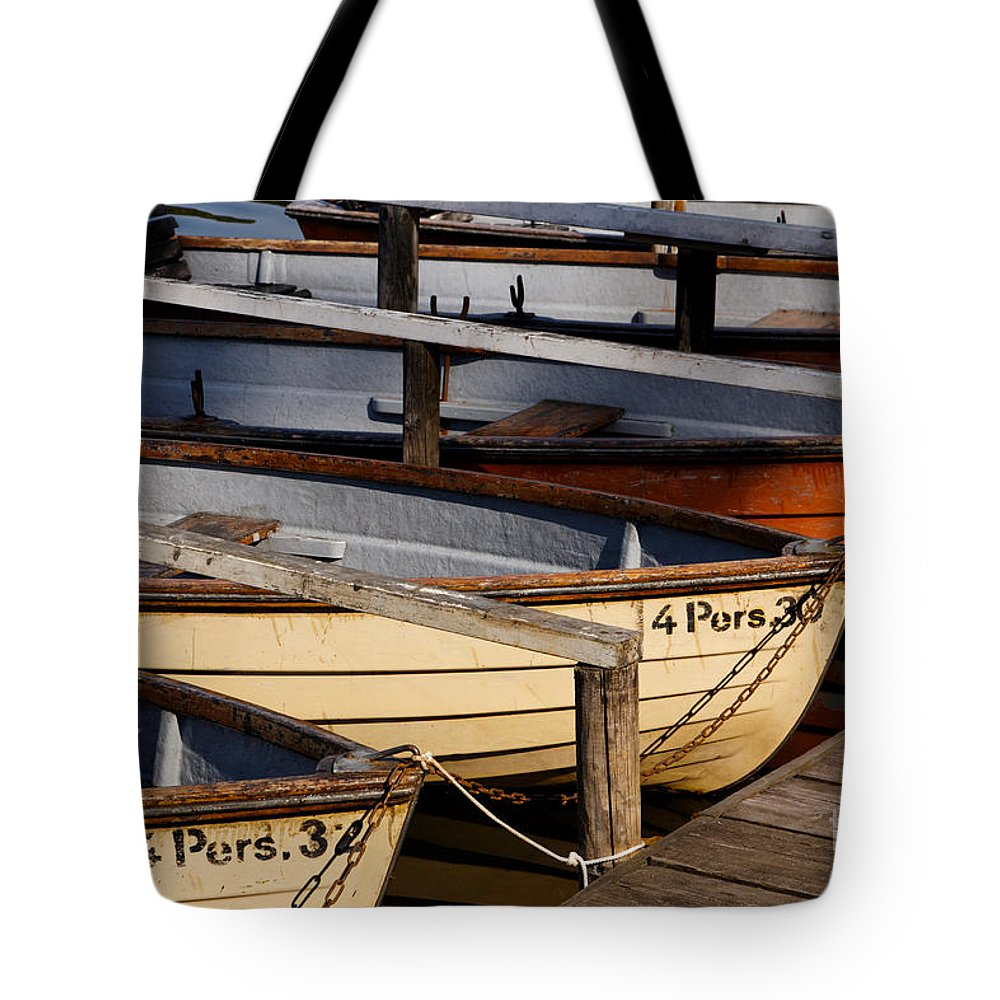 Afternoon Tote Bag featuring the photograph Rownoats At The Schlachtensee by Jannis Werner