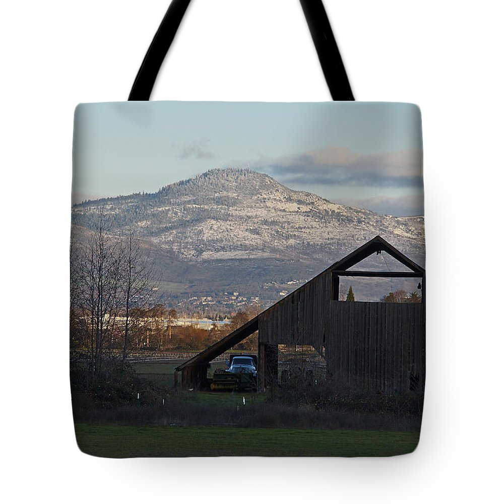Barn Tote Bag featuring the photograph Roxy Ann And The Dark Barn by Mick Anderson