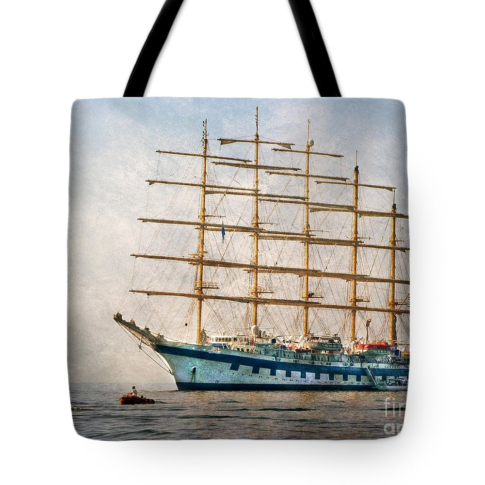 Royal Clipper Tote Bag featuring the digital art Royal Clipper On Amalfi Coast by Jennie Breeze