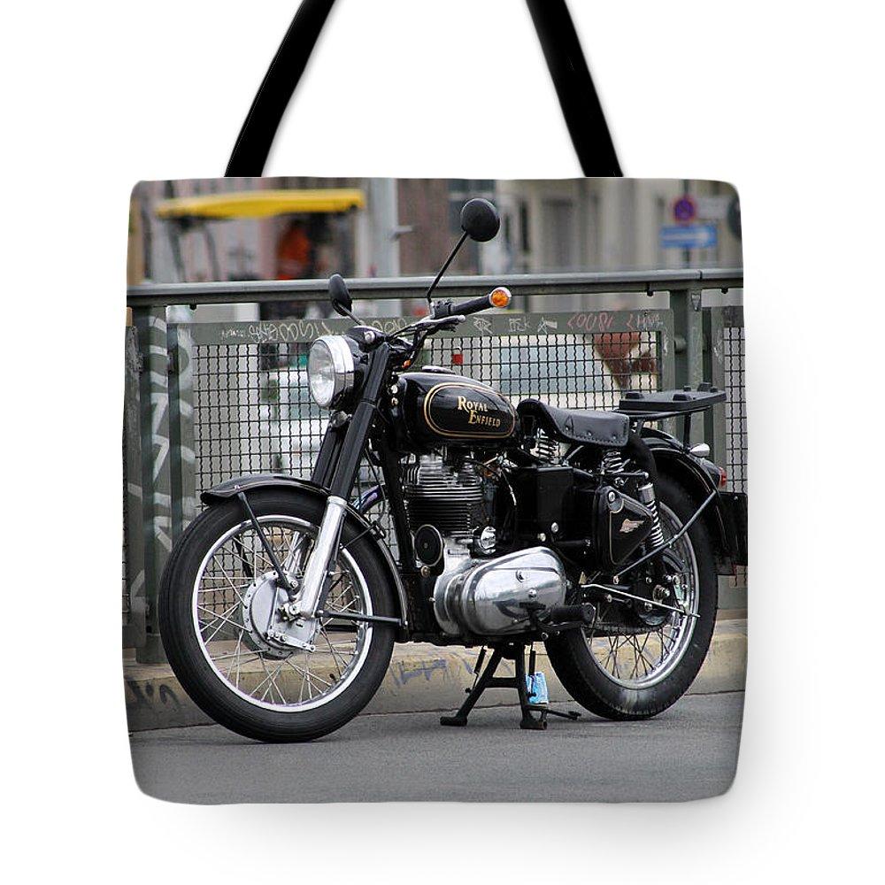 Royal Enfield Motorbike Motorcycle Indian British Color Bike Photograph Berlin Tote Bag featuring the photograph Royal Enfield 2 by Steve K