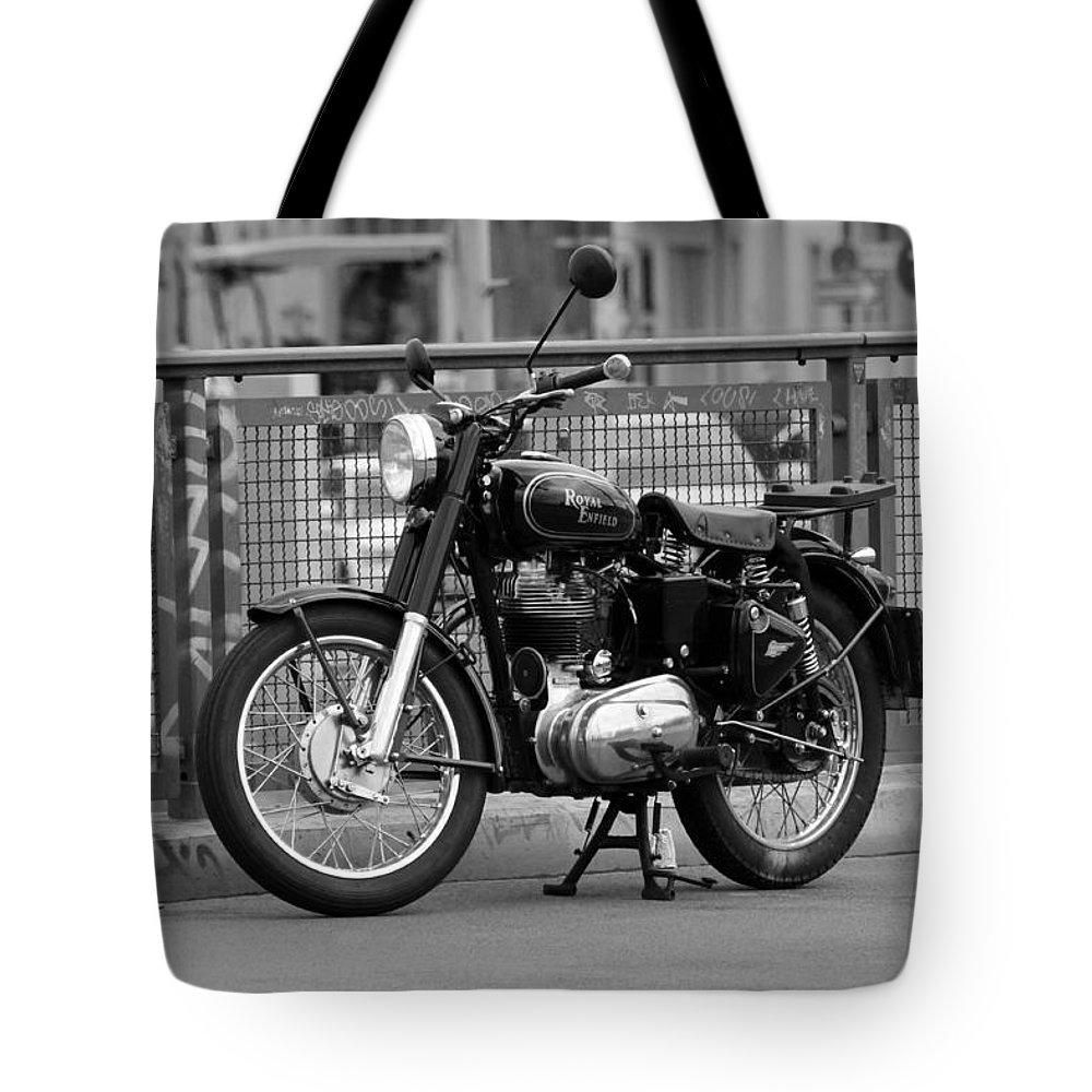 Royal Enfield Motorbike Motorcycle Indian British Bw Sw Bike Photograph Berlin Tote Bag featuring the photograph Royal Enfield Goes Berlin by Steve K