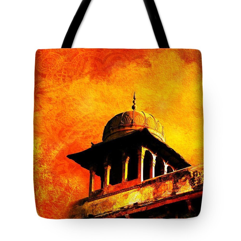 Pakistan Tote Bag featuring the painting Royal Fort 01 by Catf