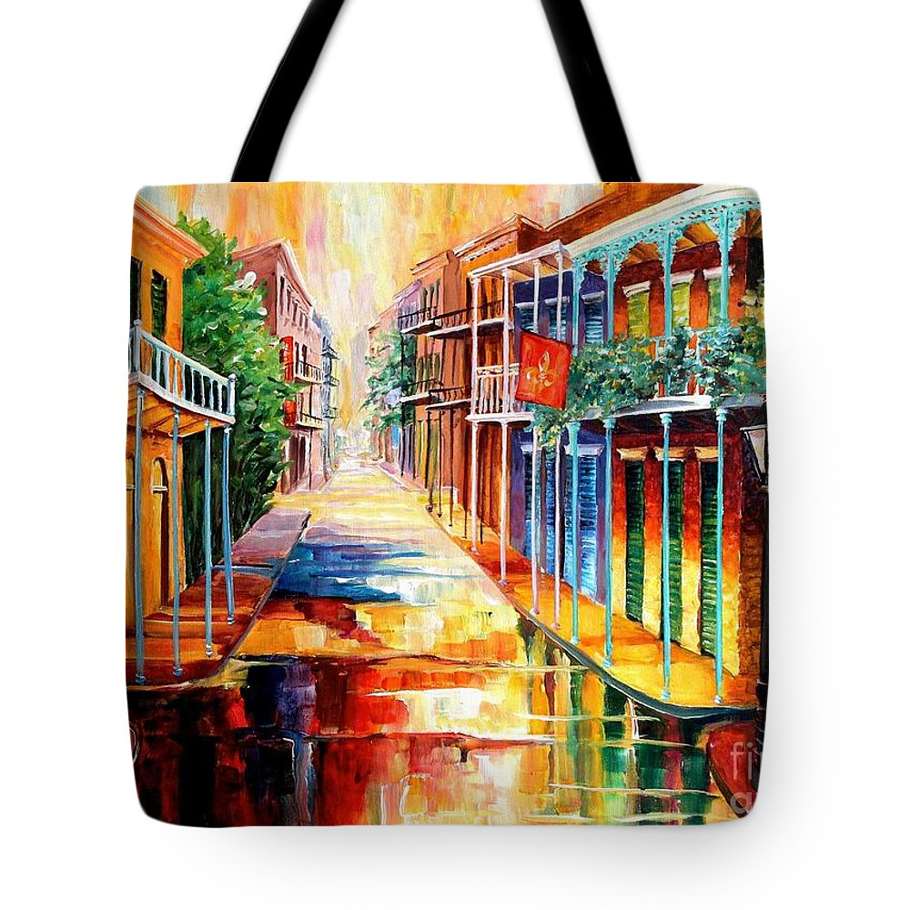 New Orleans Tote Bag featuring the painting Royal Street Reflections by Diane Millsap