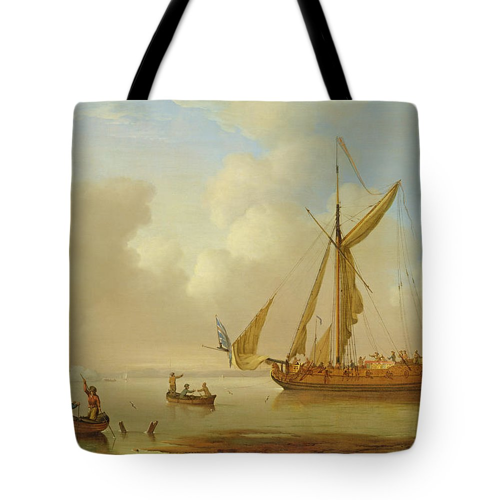Sails; British Flag; Crew; Ship; Boat; Sailing; Maritime; Seascape; Rowing; Anchored; Calm Tote Bag featuring the painting Royal Yacht Becalmed At Anchor by Peter Monamy