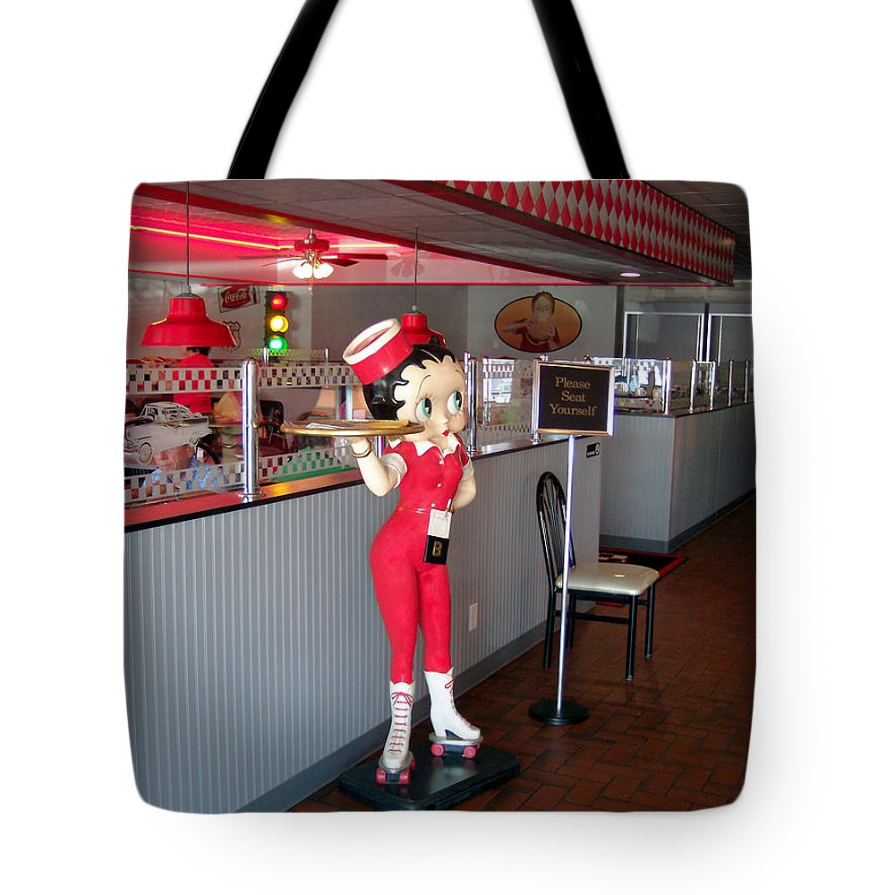 Il Tote Bag featuring the photograph Rt 66 Dwight Il Betty Boop by Thomas Woolworth