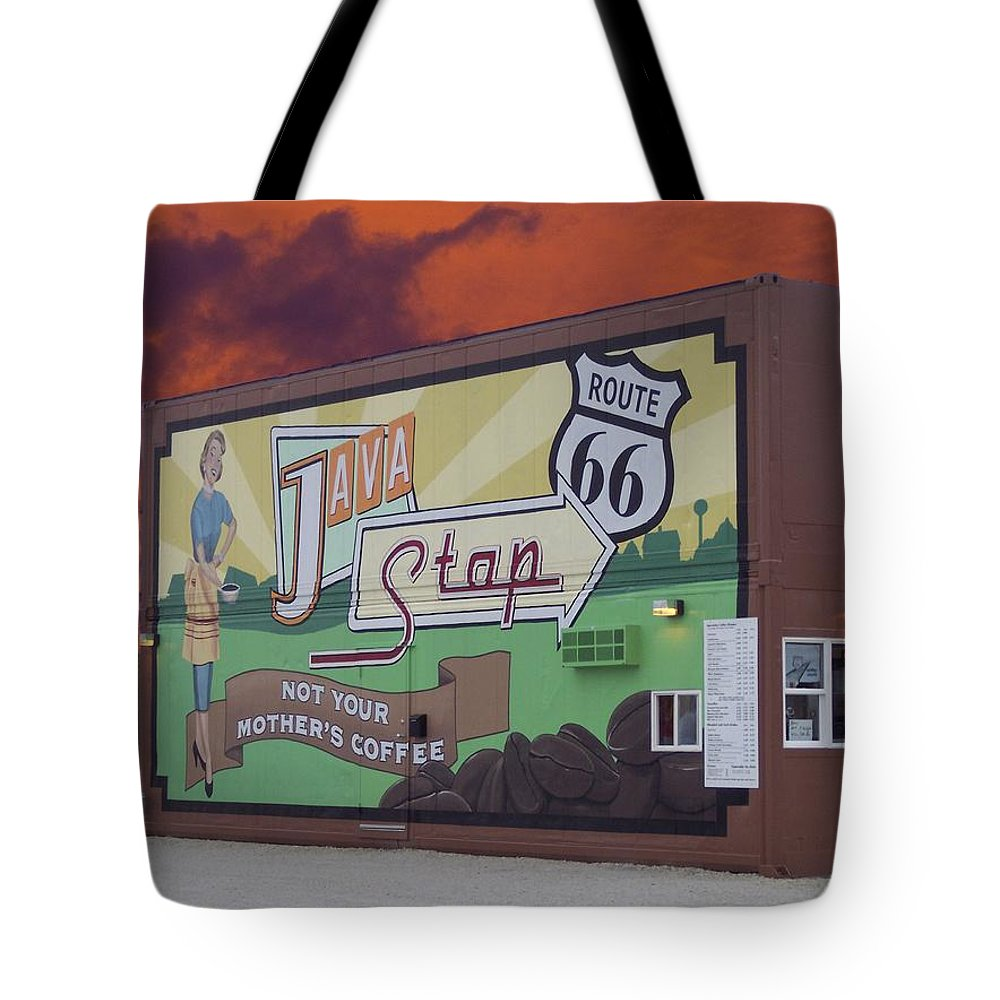 Java Tote Bag featuring the photograph Rt 66 Dwight Il Java Stop by Thomas Woolworth