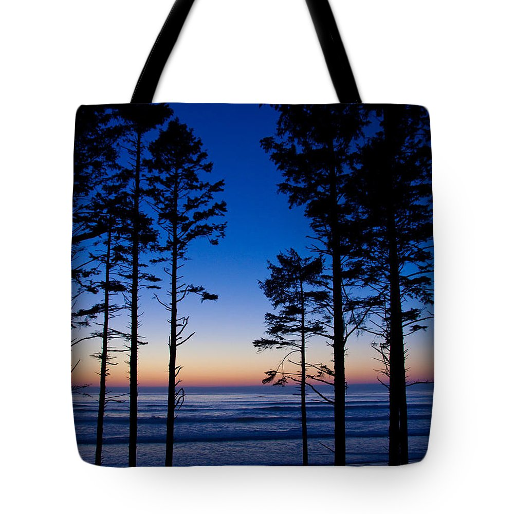 Sunset Tote Bag featuring the photograph Ruby Beach Sillouette II by Dana Kern