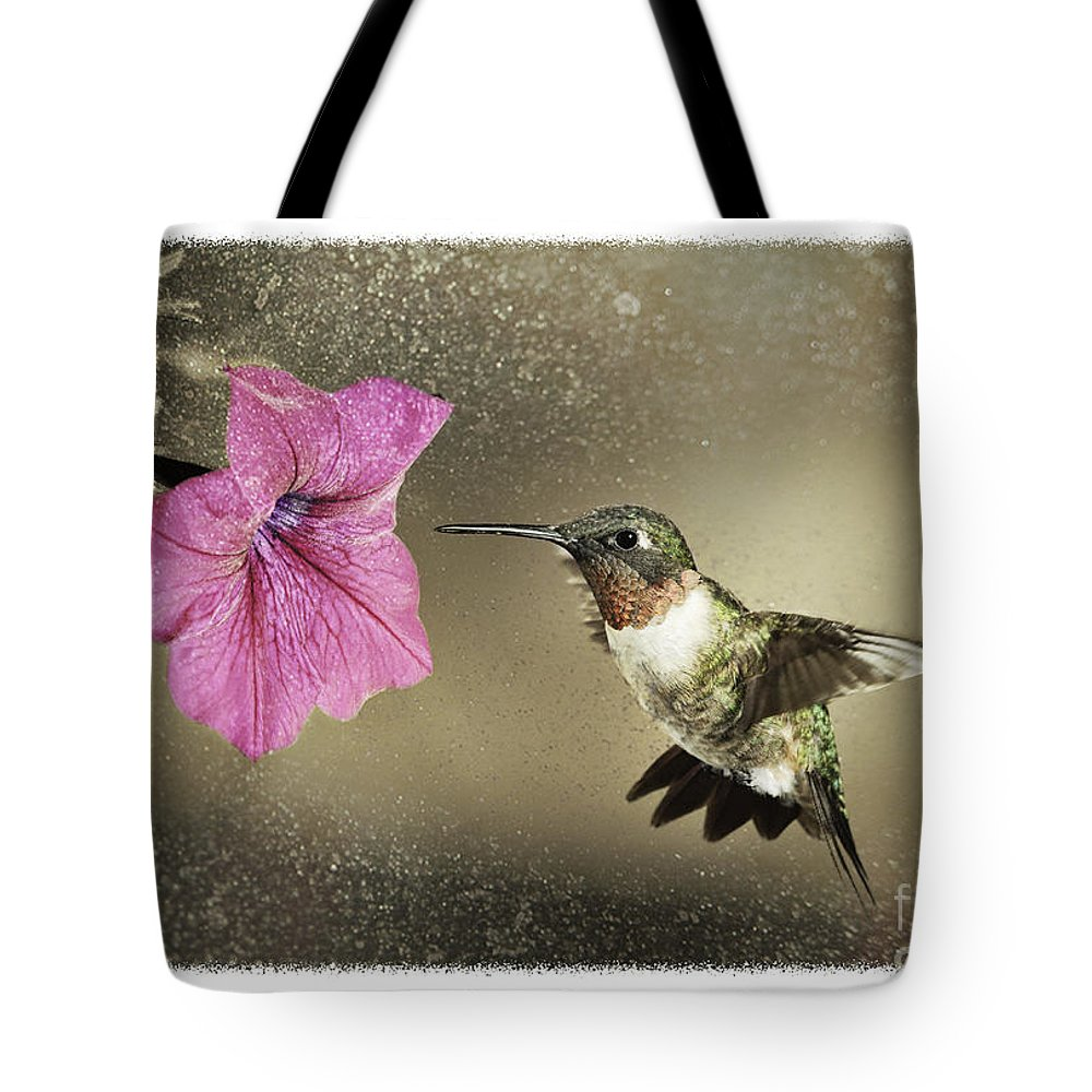 Ruby-throated Tote Bag featuring the photograph Ruby - D004190 by Daniel Dempster
