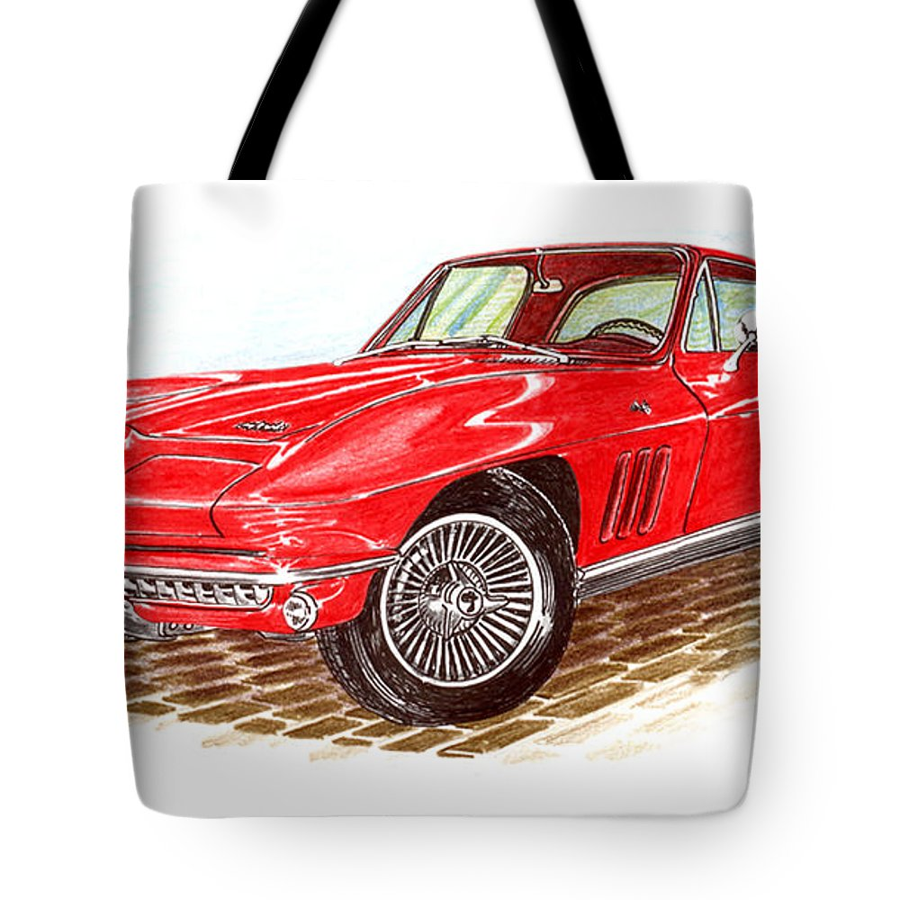 764d0d6f79eb Red 1966 Corvette Stingray Fastback Tote Bag featuring the drawing Ruby Red  1966 Corvette Stingray Fastback
