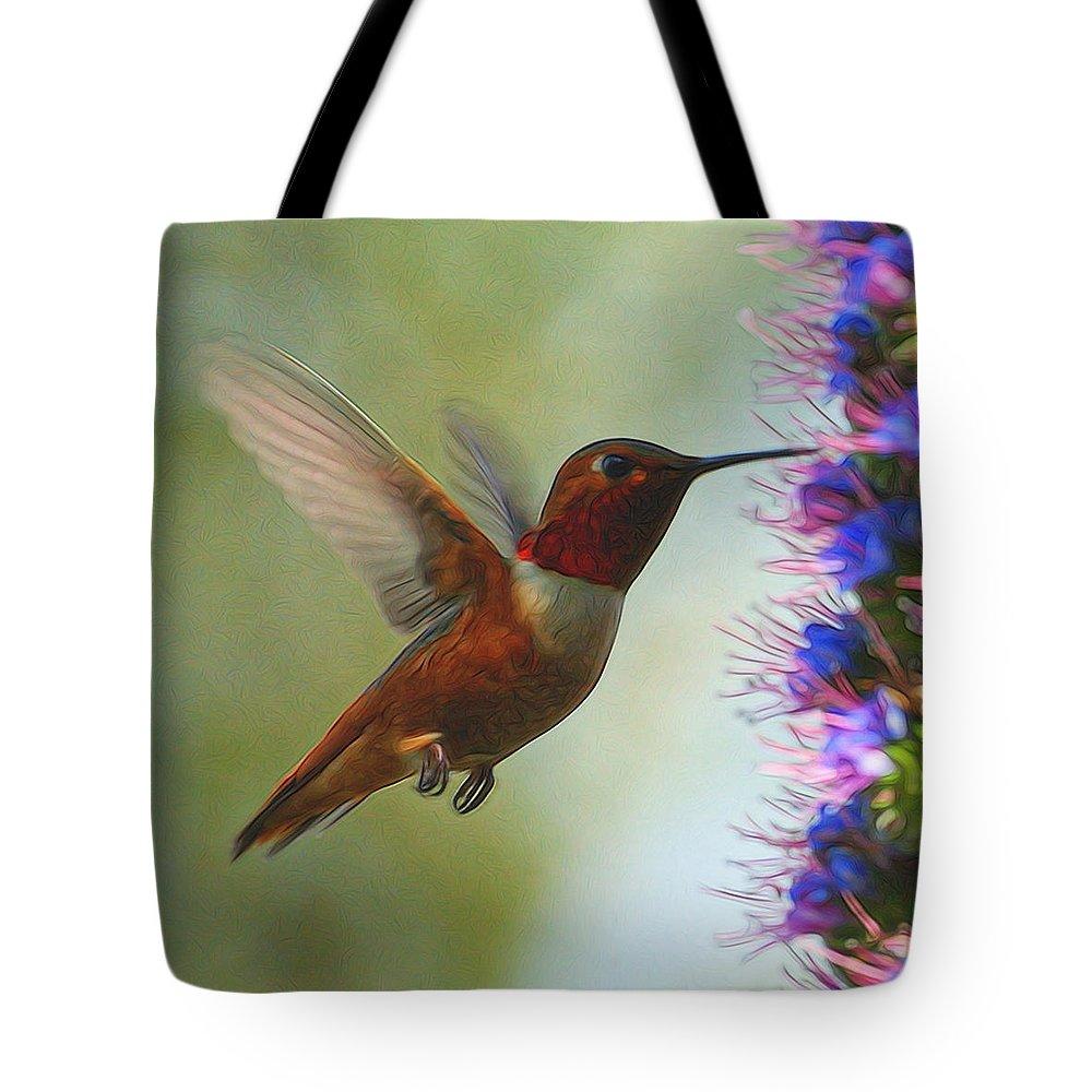 Hummingbirds Tote Bag featuring the digital art Ruby Throated Hummingbird Digital Art by Ernie Echols