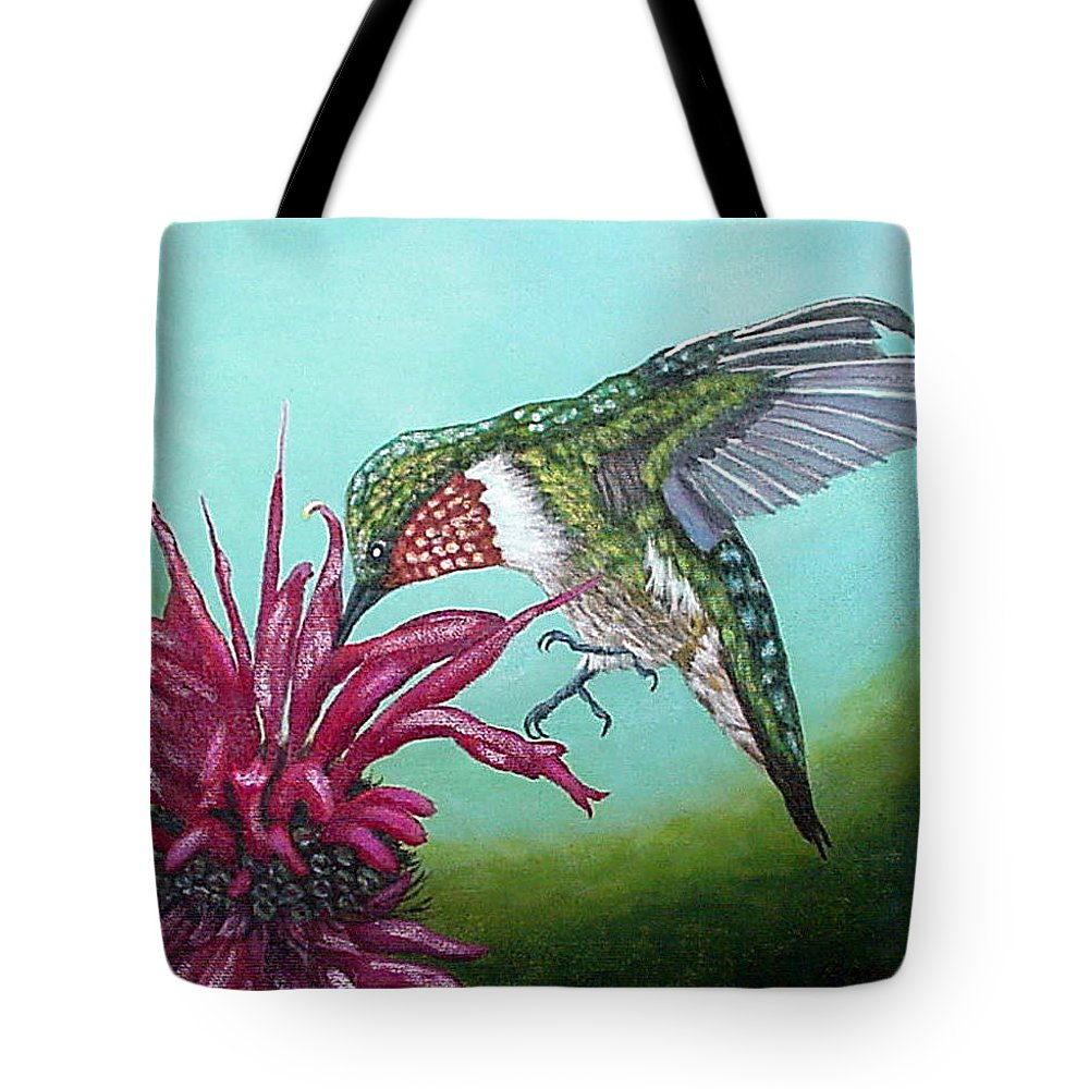 Ruby Tote Bag featuring the painting Ruby-throated Hummingbird by Fran Brooks