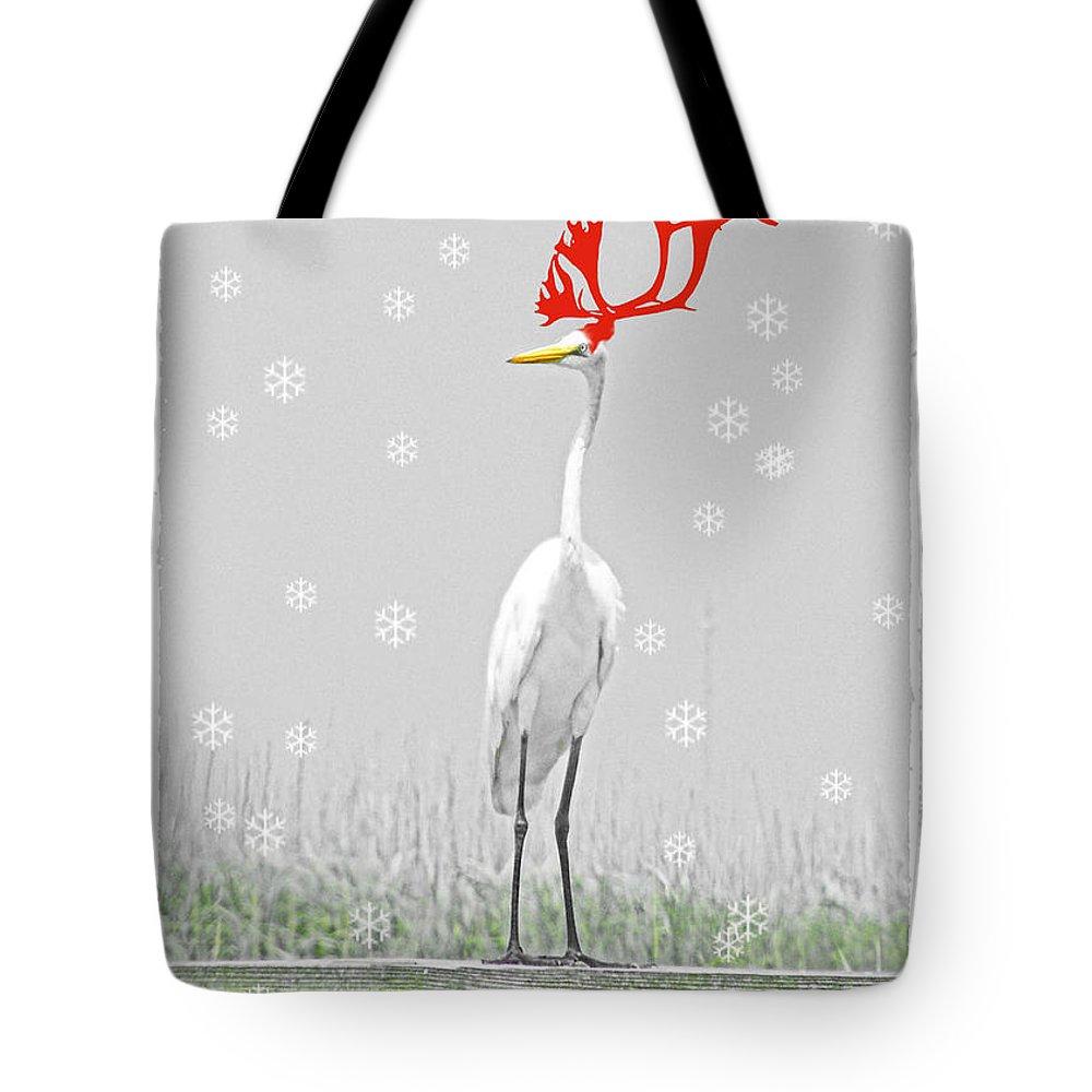 Christmas Tote Bag featuring the digital art Rudolph by Lizi Beard-Ward