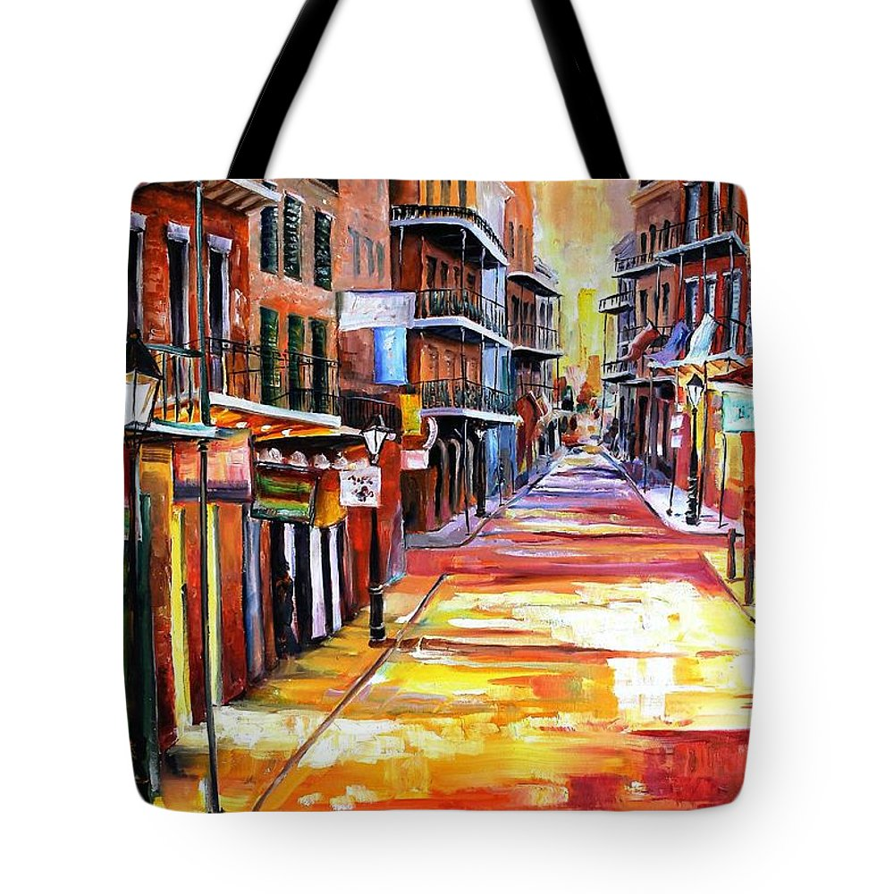 New Orleans Tote Bag featuring the painting Rue Bourbon by Diane Millsap