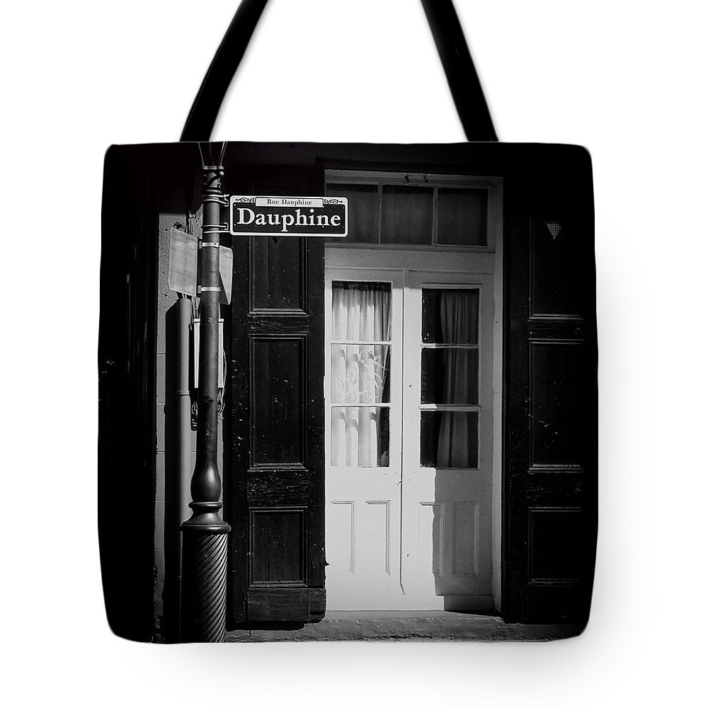 Black And White Photos Tote Bag featuring the photograph Rue Dauphine French Quarter New Orleans-monochrome by Kathleen K Parker