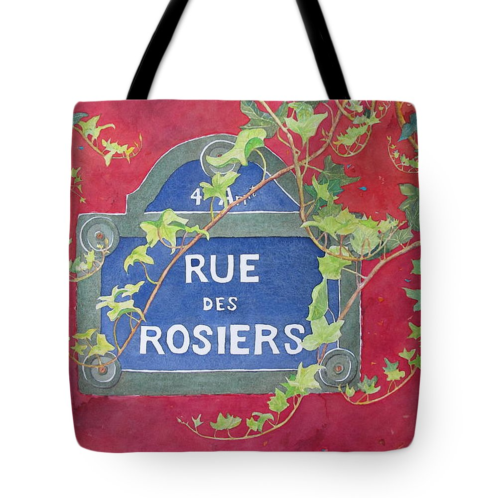 Red Wall Tote Bag featuring the painting Rue des Rosiers in Paris by Mary Ellen Mueller Legault