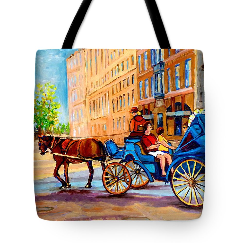 Rue Notre Dame Tote Bag featuring the painting Rue Notre Dame Caleche Ride by Carole Spandau