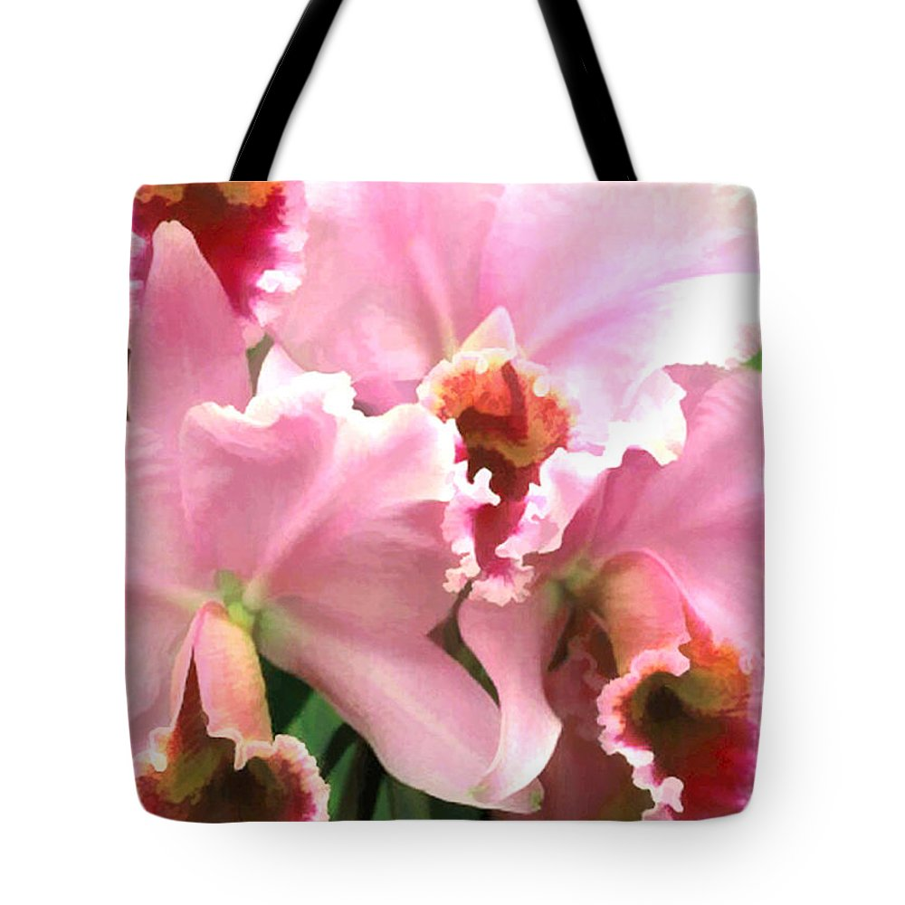 Orchid Tote Bag featuring the painting Ruffles And Flourishes Cattleya Orchids by Elaine Plesser
