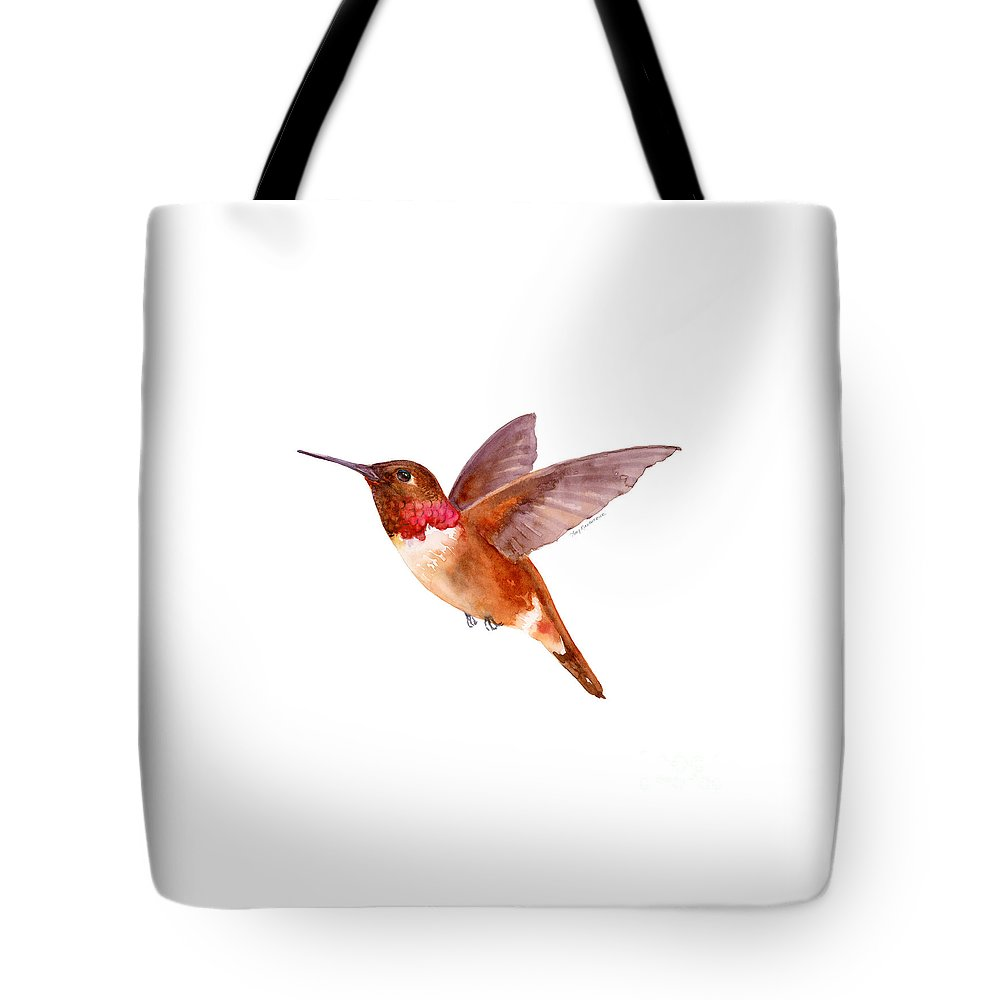 Bird Tote Bag featuring the painting Rufous Hummingbird by Amy Kirkpatrick