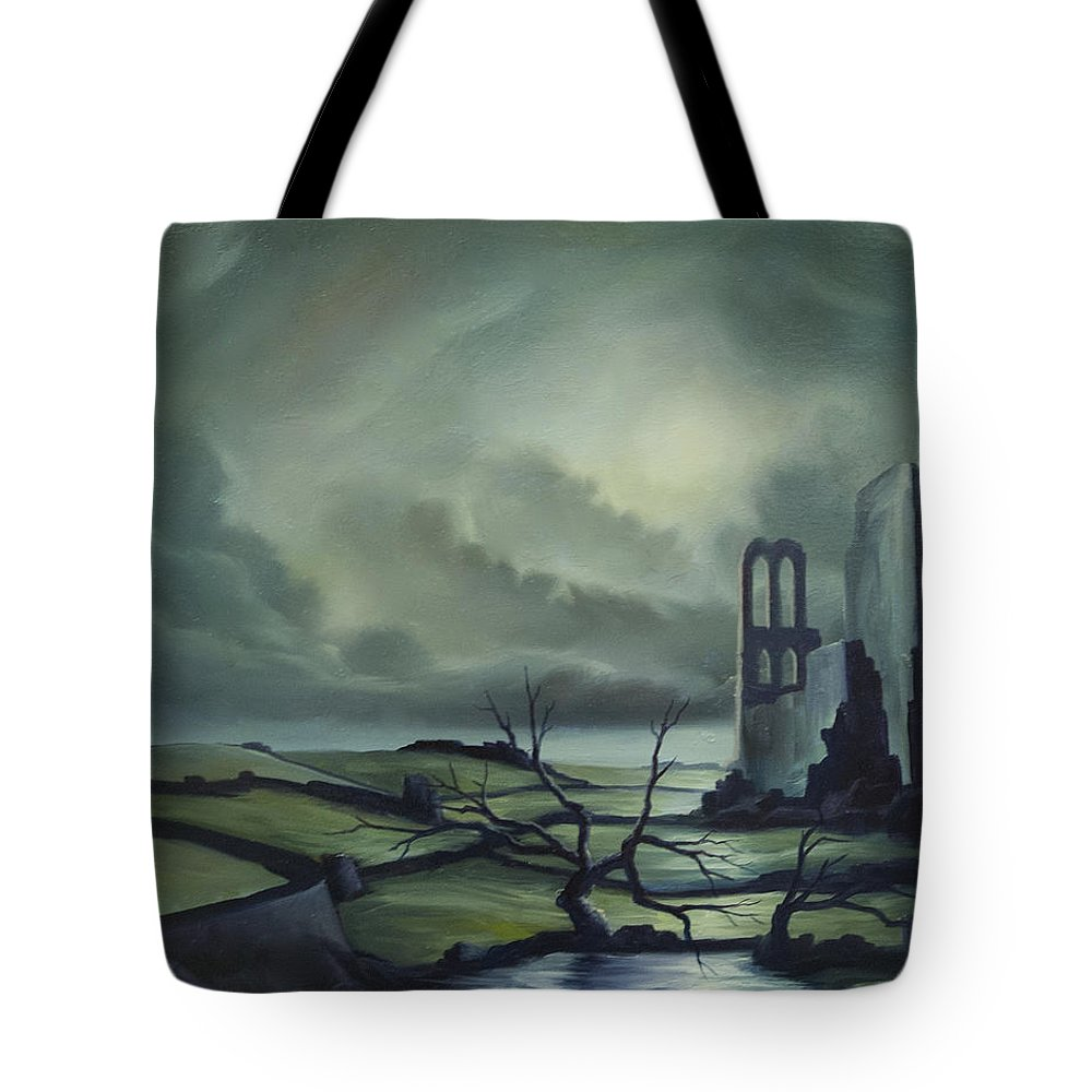 Ruins; Cityscape; Landscape; Nightmare; Horror; Power; Roman; City; World; Lost Empire; Dramatic; Sky; Red; Blue; Green; Scenic; Serene; Color; Vibrant; Contemporary; Greece; Stone; Rocks; Castle; Fantasy; Fire; Yellow; Tree; Bush Tote Bag featuring the painting Ruins Of Cathedra by James Christopher Hill
