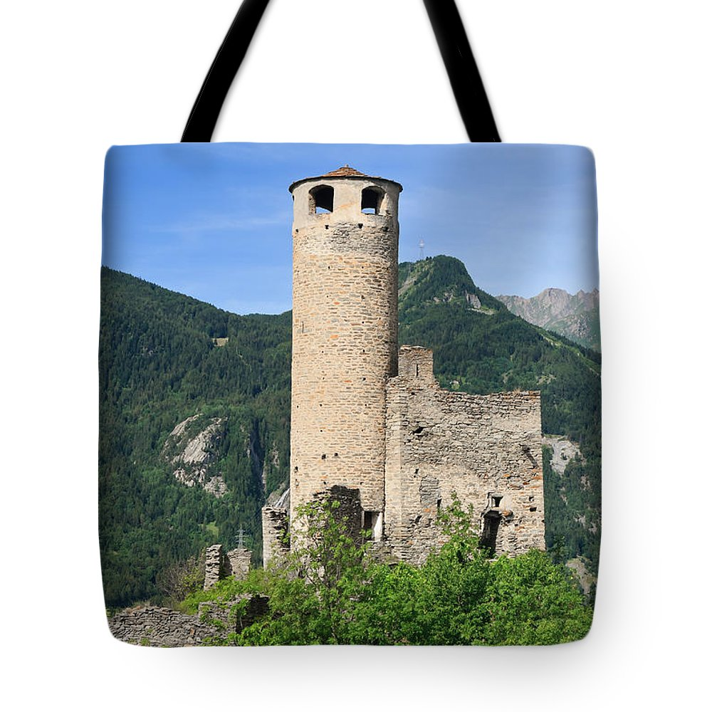 Alps Tote Bag featuring the photograph ruins of Chatelard castle by Antonio Scarpi