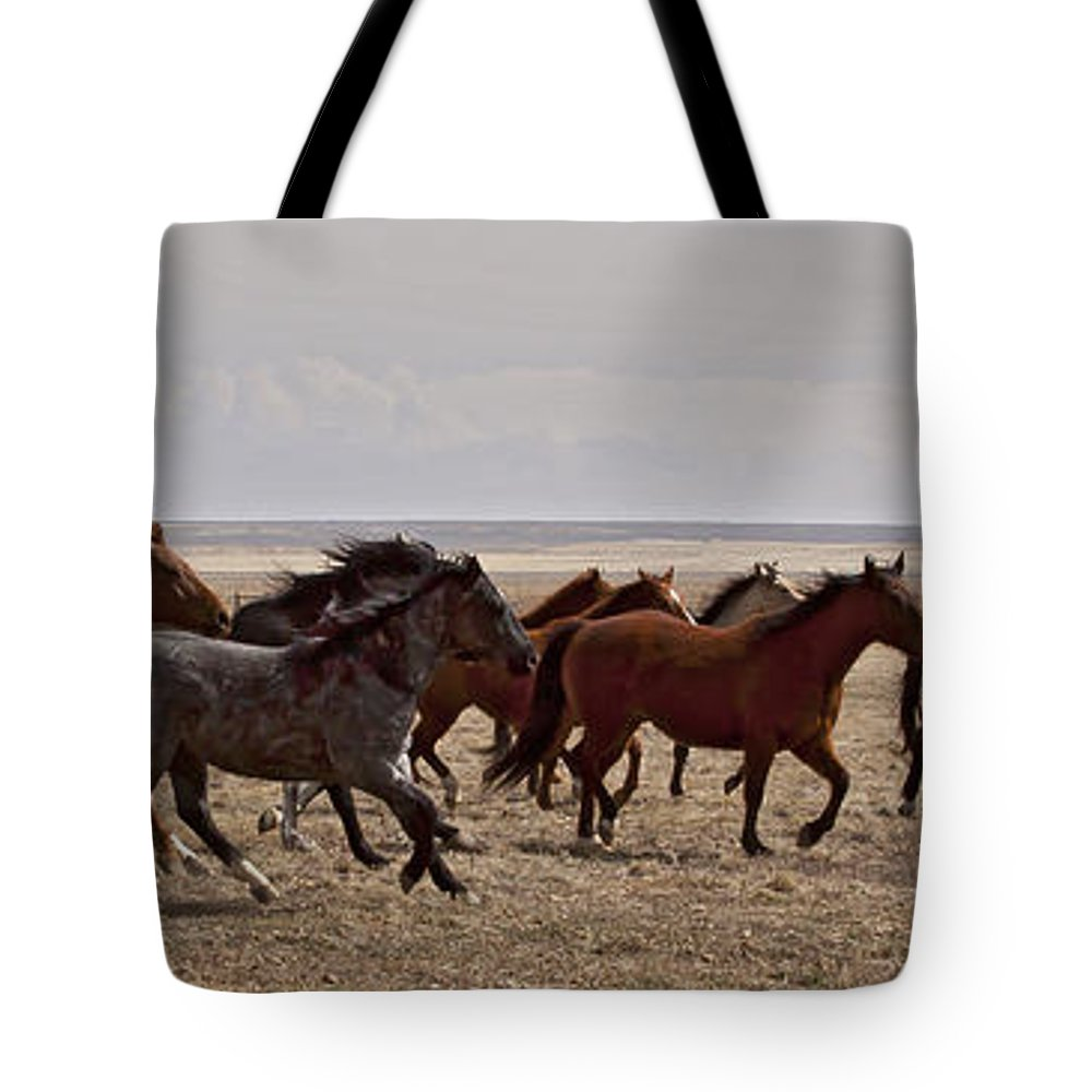 Horses Tote Bag featuring the photograph Running For The Fun Of It  #0958 by J L Woody Wooden