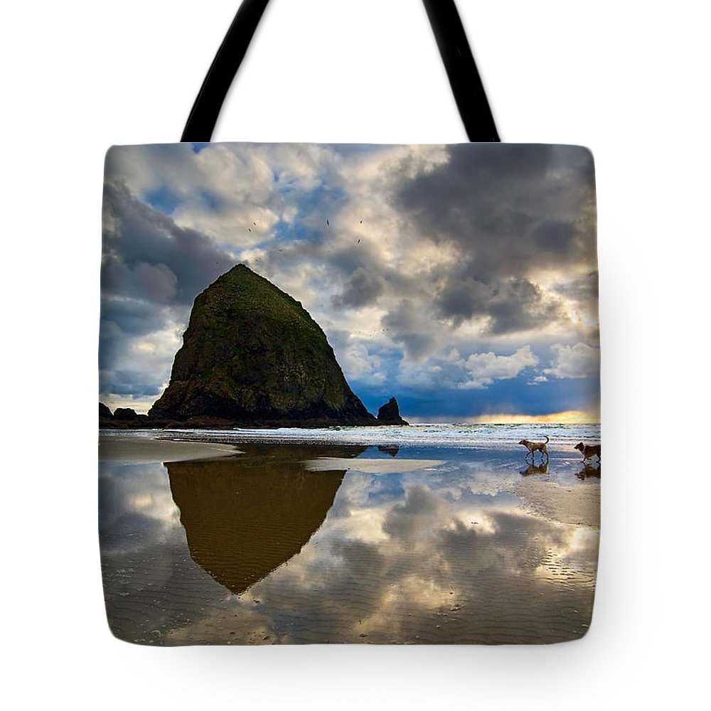Cannon Beach Tote Bag featuring the photograph Running Free - Dogs Running In Beautiful Cannon Beach. by Jamie Pham