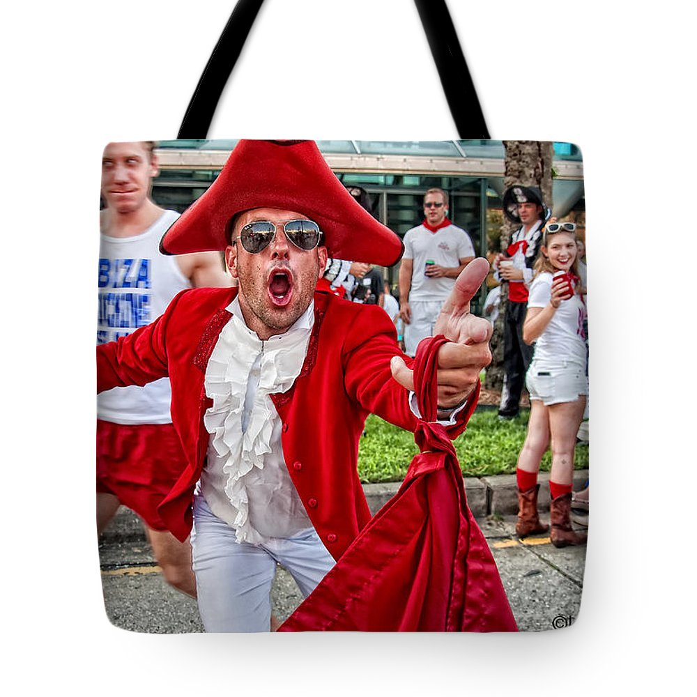 Running Tote Bag featuring the photograph Running Of The Bulls New Orleans Matador by Kathleen K Parker