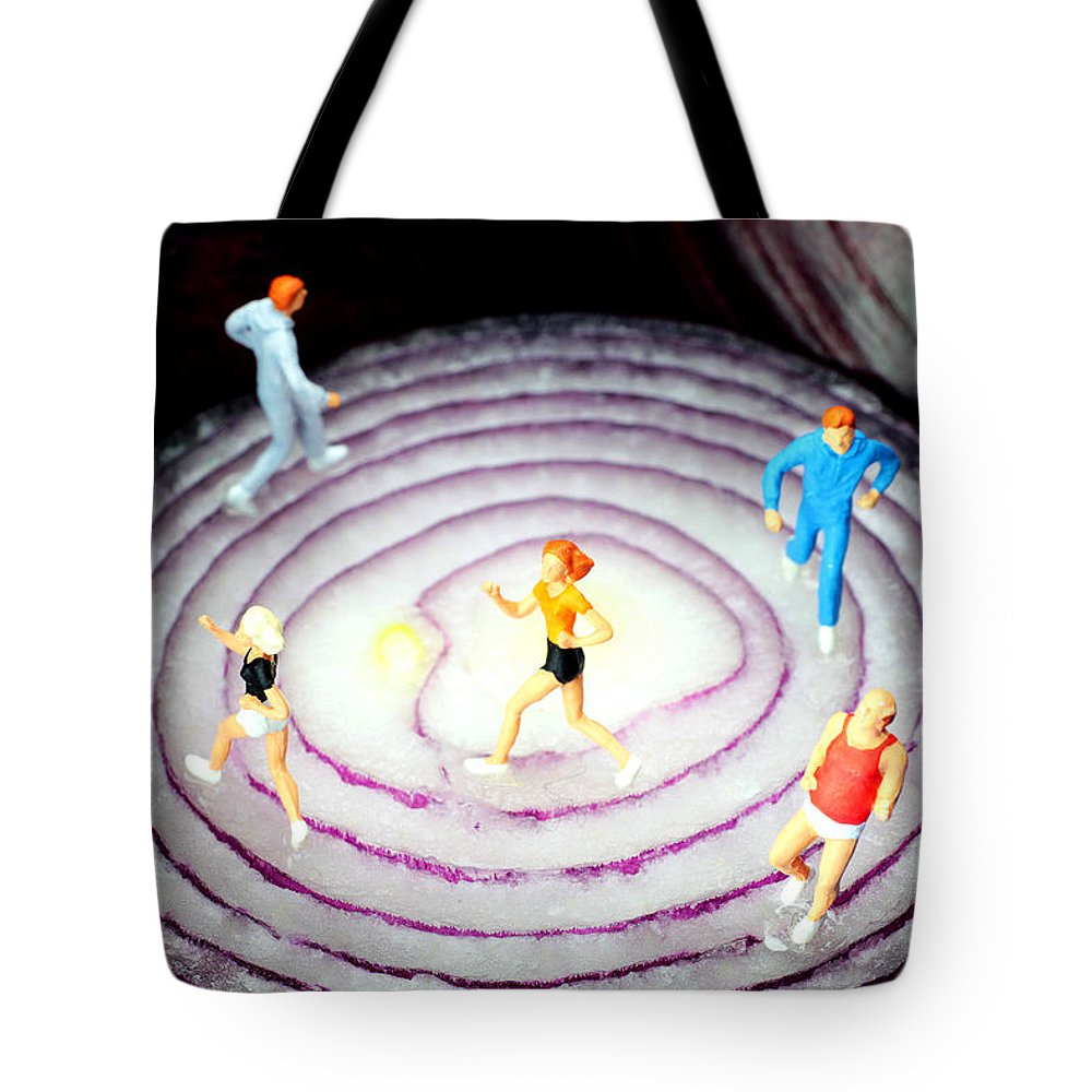 Run Tote Bag featuring the photograph Running On Red Onion Little People On Food by Paul Ge