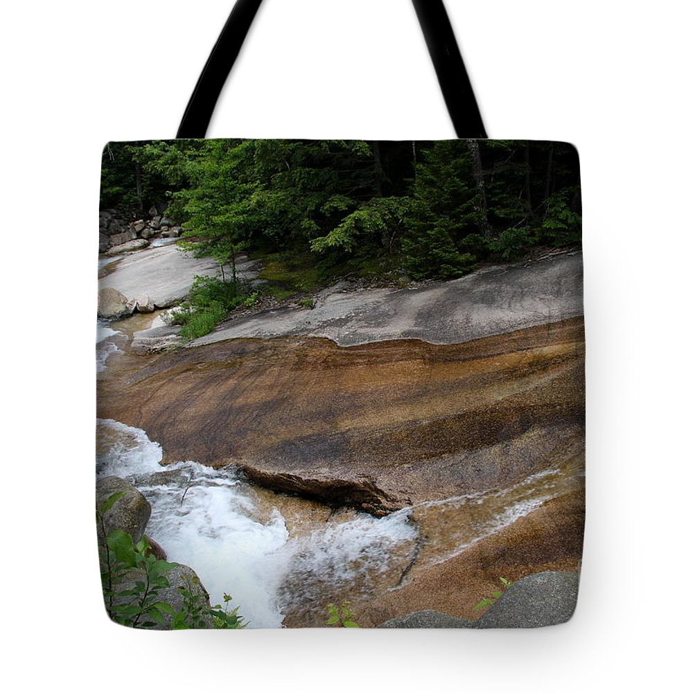 Pemigewasset River Tote Bag featuring the photograph Running Over Granite by Christiane Schulze Art And Photography