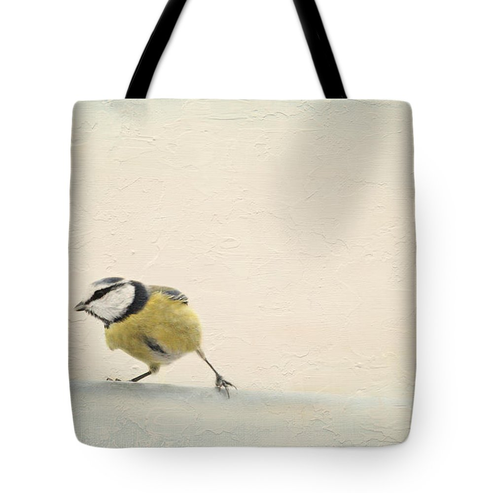 Image Processing Tote Bag featuring the mixed media Running Tit by Heike Hultsch