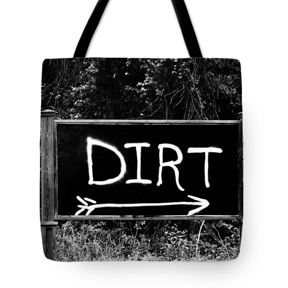 Black And White Photography Tote Bag featuring the photograph Rural Area Sign by Cynthia Guinn