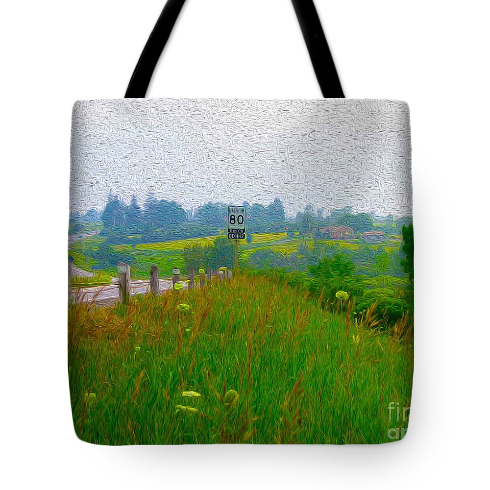 Highway Tote Bag featuring the photograph Rural Highway In Oil Paint by Nina Silver