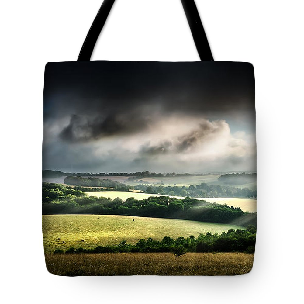 Landscape Tote Bag featuring the photograph Rural Landscape Stormy Daybreak by Simon Bratt Photography LRPS