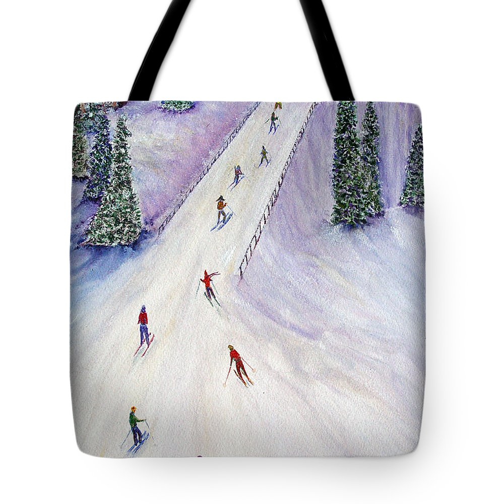 Snow Tote Bag featuring the painting Rush Hour by Loretta Luglio