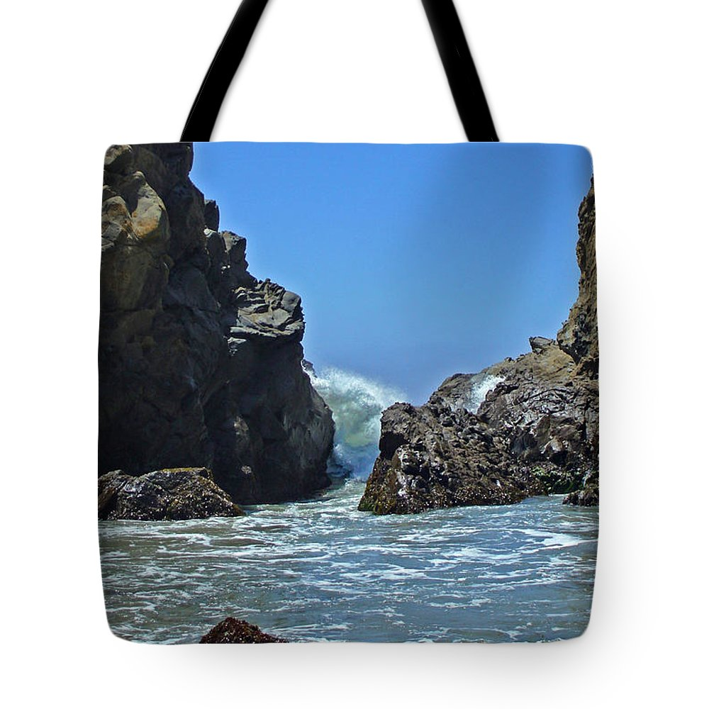 'phoenix Tote Bag featuring the photograph Rushing Wave - Big Sur by Phoenix The Moody Artist