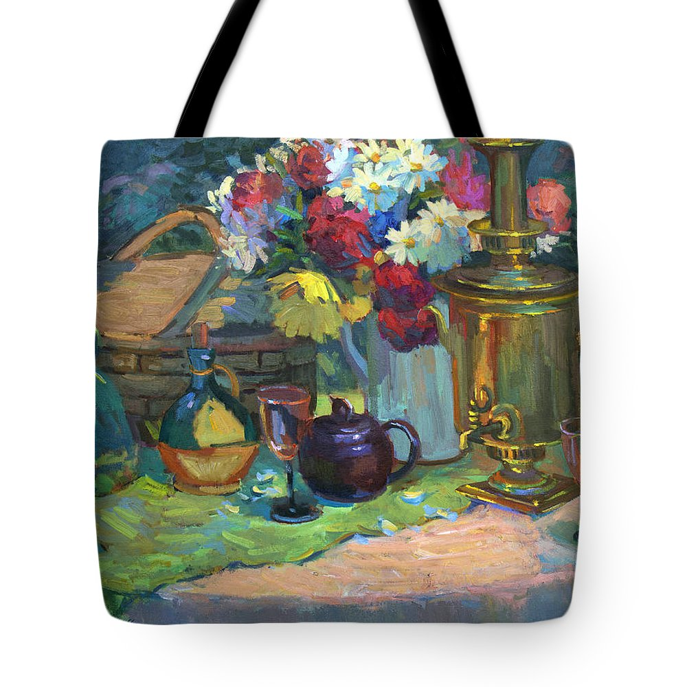 Russian Picnic Tote Bag featuring the painting Russian Picnic Still Life by Diane McClary