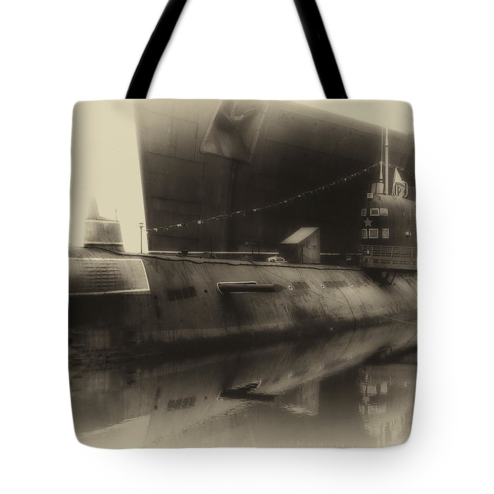 Submarine Tote Bag featuring the photograph Russian Submarine Heirloom 01 by Thomas Woolworth