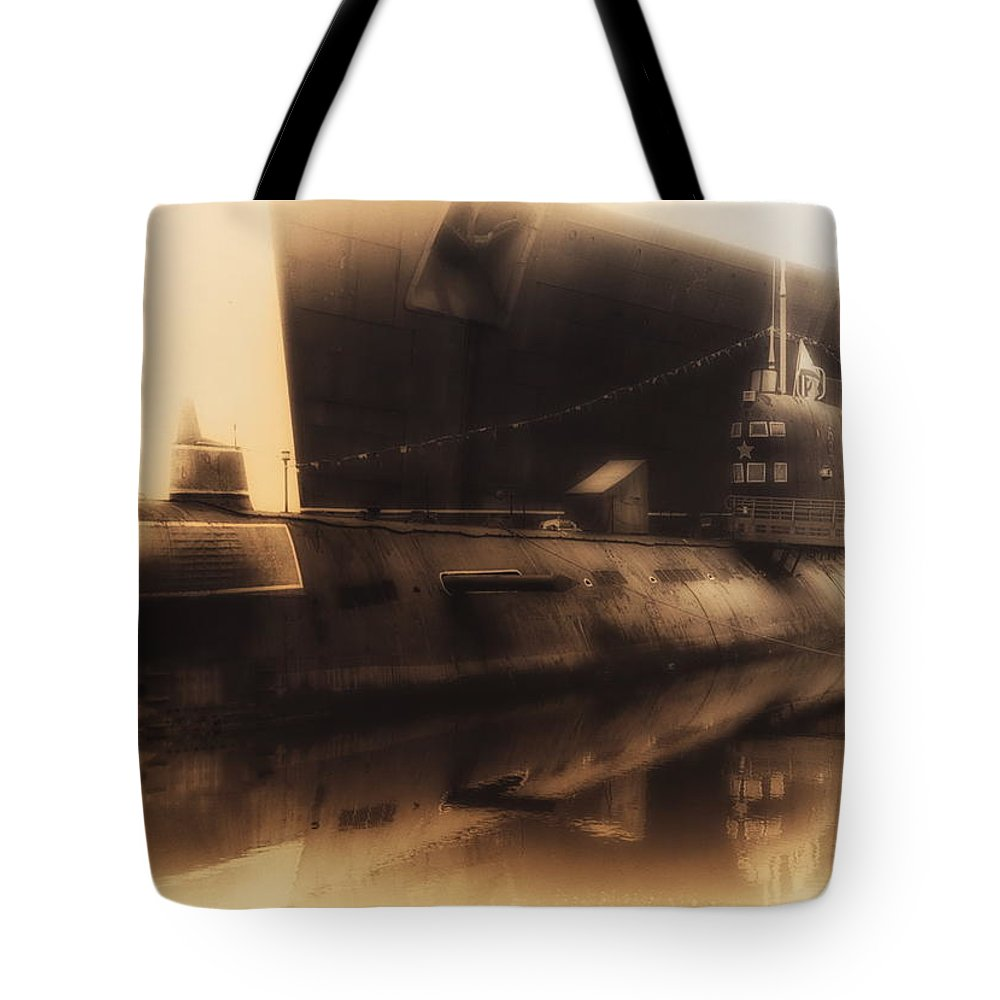 Submarine Tote Bag featuring the photograph Russian Submarine Heirloom 02 by Thomas Woolworth