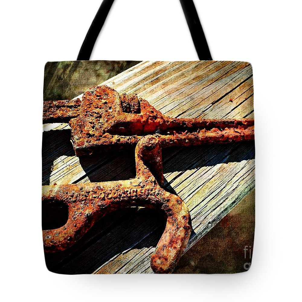 Rusty Tote Bag featuring the photograph Rust Tools II With Texture by Debbie Portwood