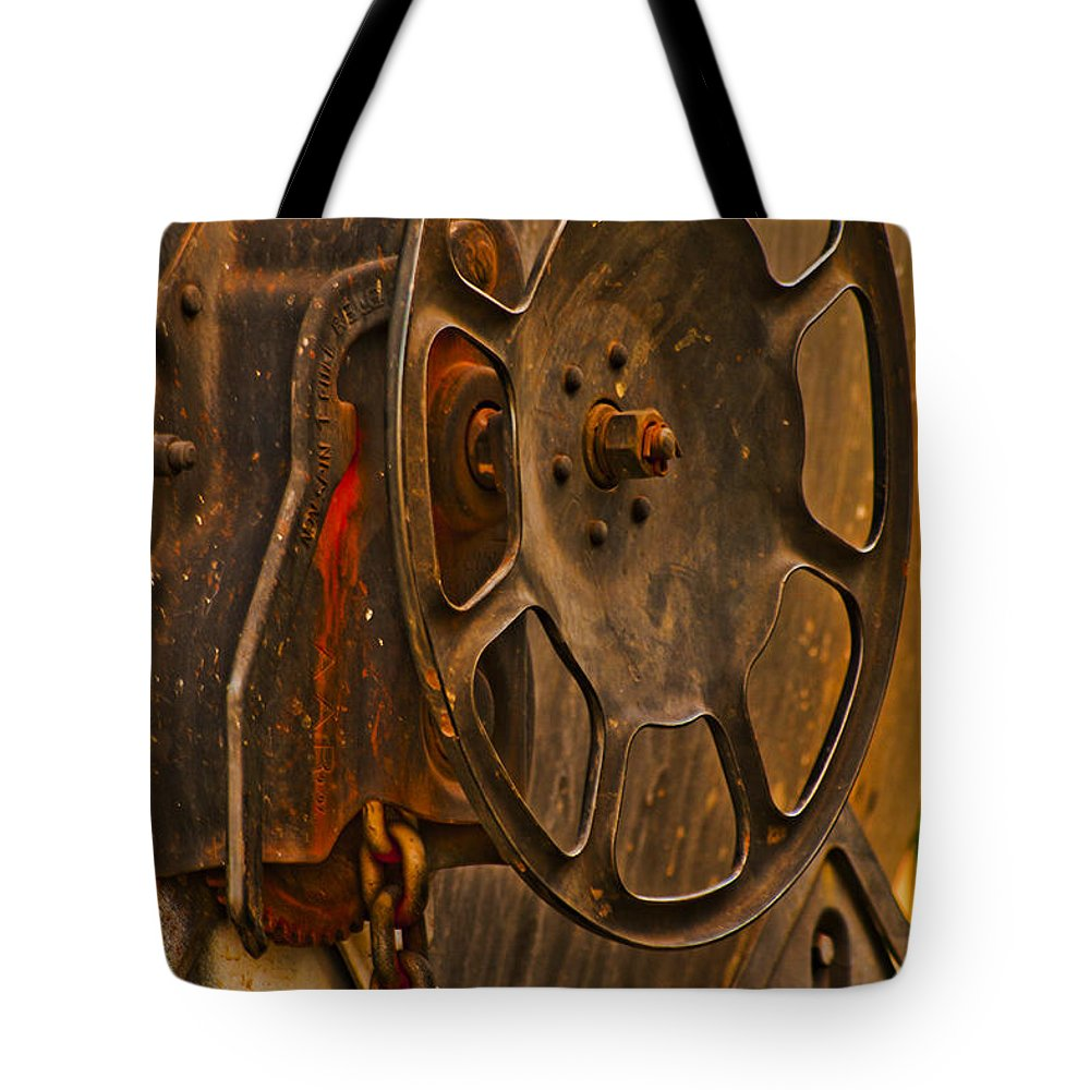 Train Tote Bag featuring the photograph Rusted Brake by Pobby Heglar