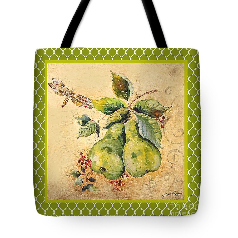 Acrylic Painting Tote Bag featuring the painting Rustic Pears On Moroccan by Jean Plout