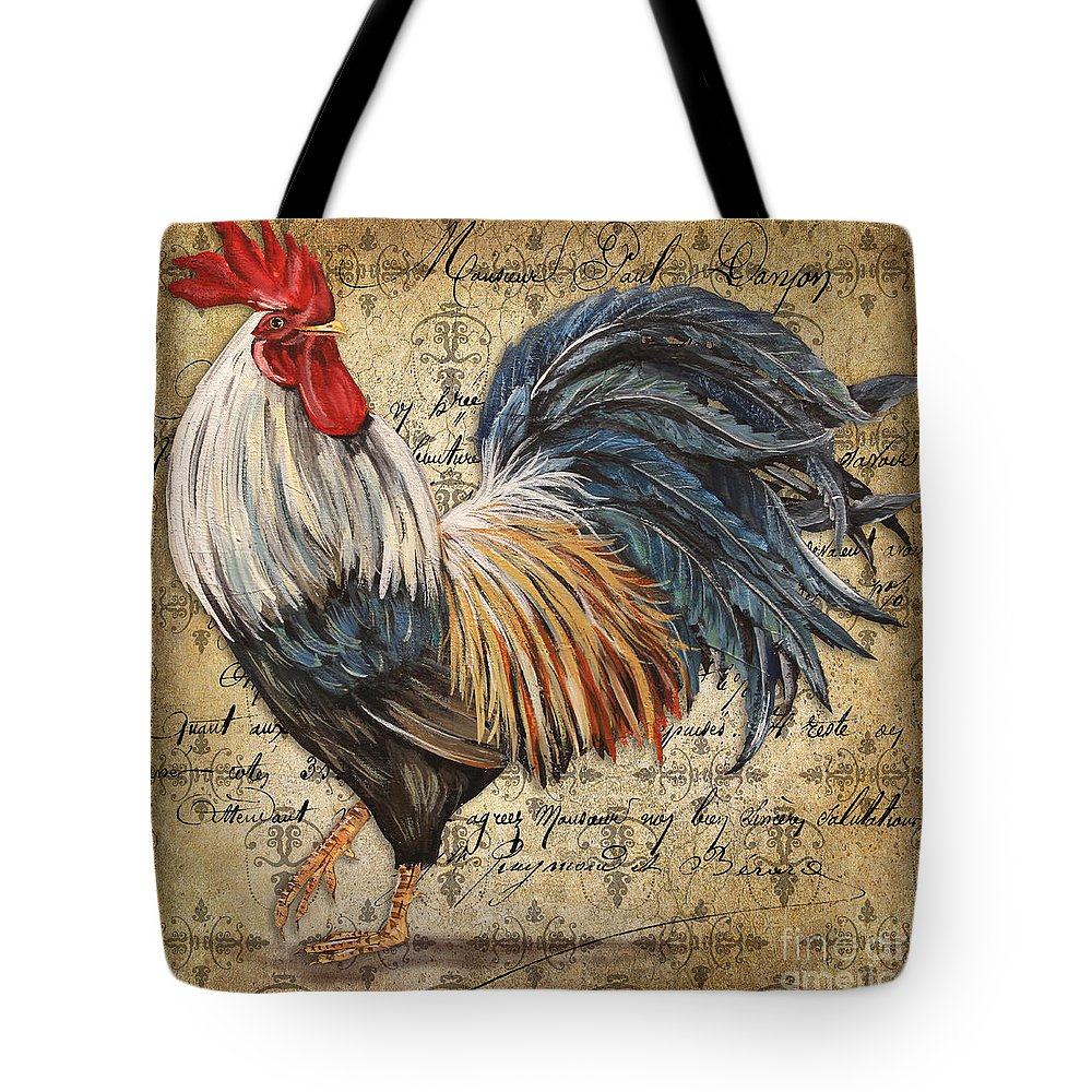 Acrylic Painting Tote Bag featuring the painting Rustic Rooster-jp2119 by Jean Plout