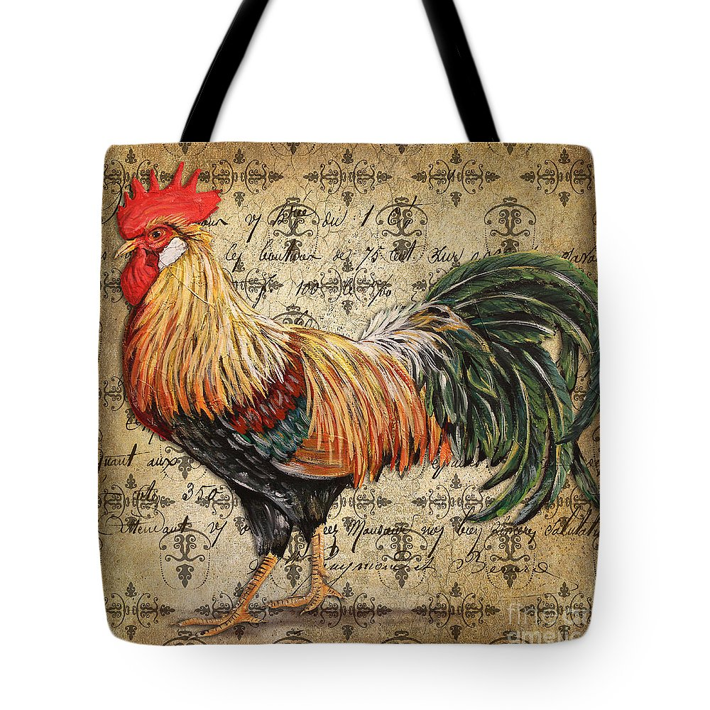Acrylic Painting Tote Bag featuring the painting Rustic Rooster-jp2121 by Jean Plout