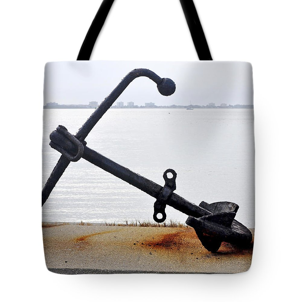 Rusty Tote Bag featuring the photograph Rusty Black Boat Anchor By Sarasota Harbor Usa by Sally Rockefeller