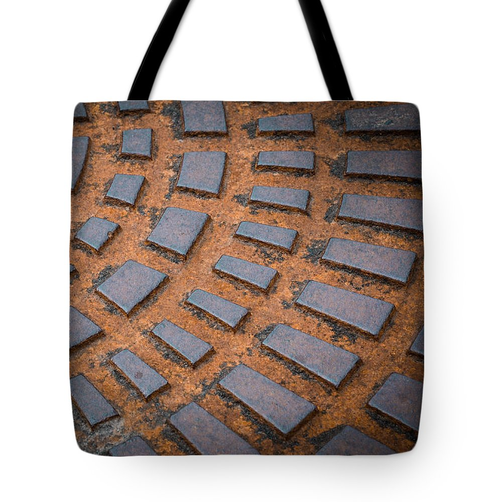 Black Tote Bag featuring the photograph Rusty Iron Hatch by Jozef Jankola